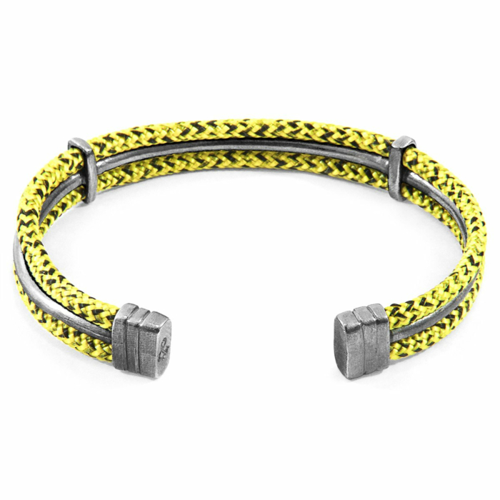 Yellow Noir Aire Silver and Rope Bangle