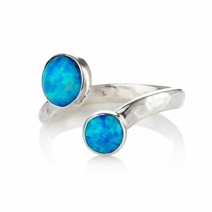 Silver Ring With Two Opals