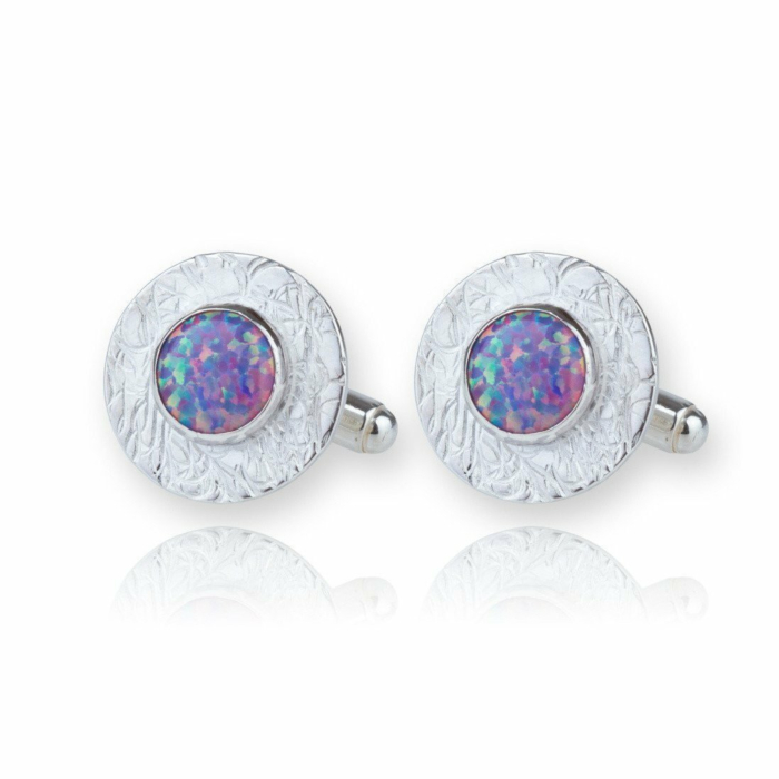 Silver Etched Cufflinks With Purple Opals
