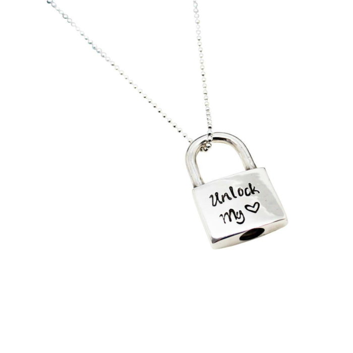 Personalised Padlock Sterling Silver Script Necklace