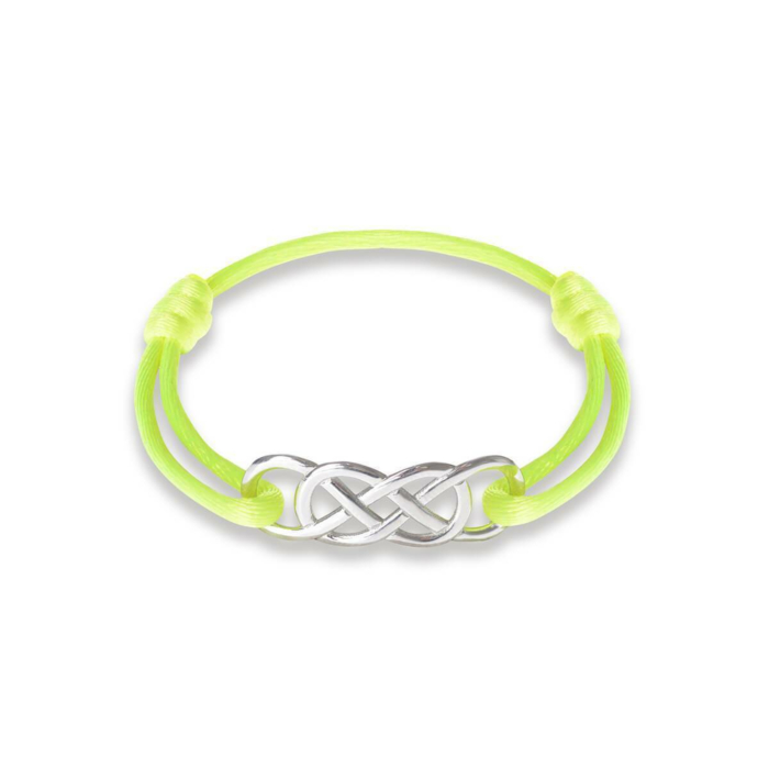 Silver Infinity Ibiza Bracelet With Yellow Neon Ribbon   INFINITY by Victoria