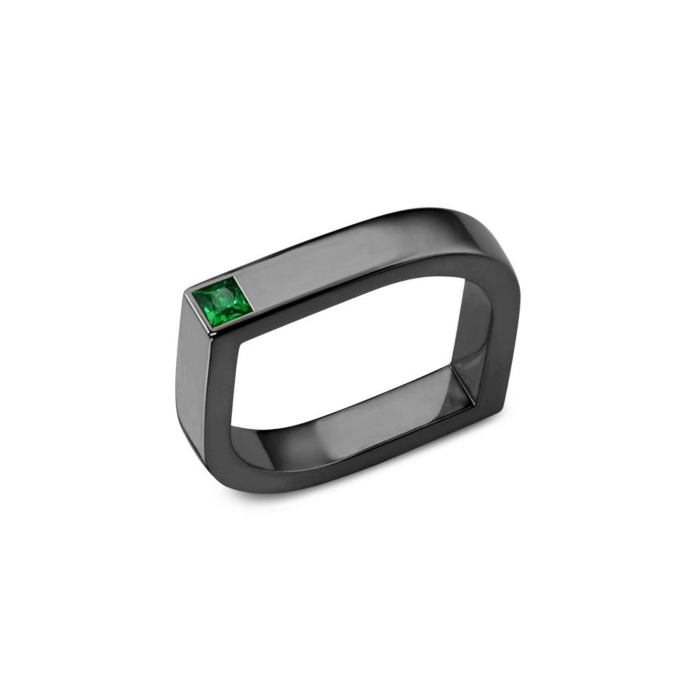 14kt Gold & Black Rhodium Isis Eye Ring With Emerald