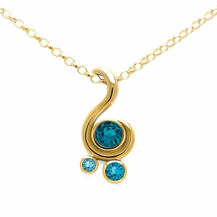 Entwine Three Stone Pendant In Gold