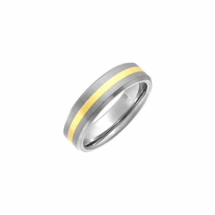 Titanium & 9kt Yellow Gold Inlay 6mm Flat Court-Shape Wedding Ring