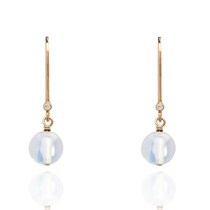 18kt Gold Drop Earrings In Opal - October Birthstone