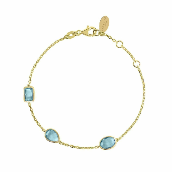 Venice Bracelet Gold Blue Topaz