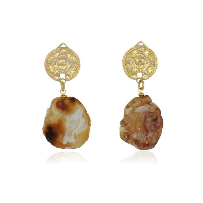 14kt Gold Plated Lokel Earrings in Amber Tones