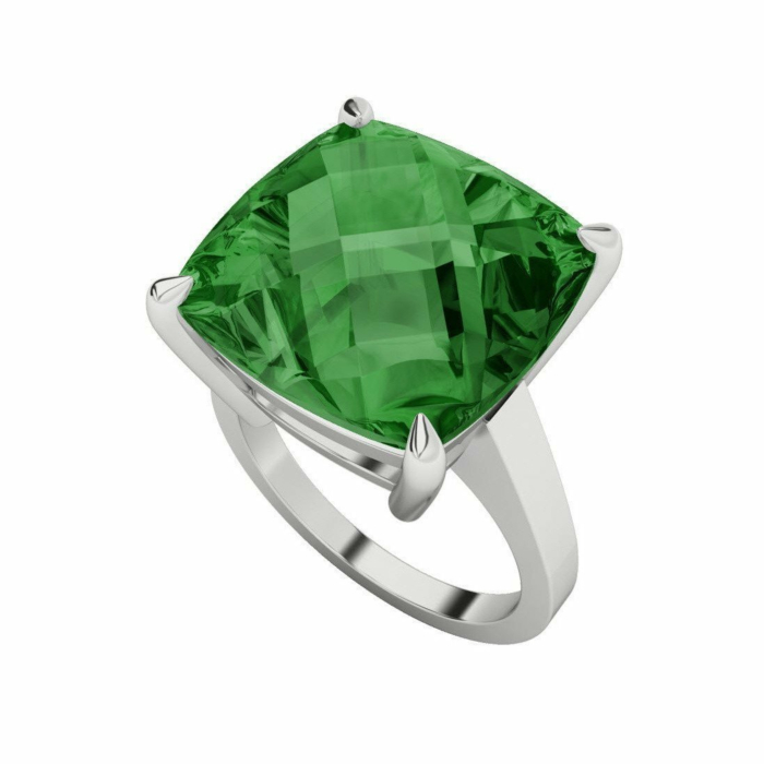 Hydrothermal Emerald Cushion Cut Checkerboard Silver Ring