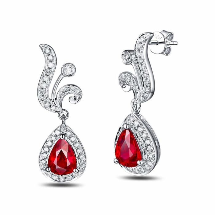 Pear Cut Ruby Diamond Earrings - 1.0ct Rubies
