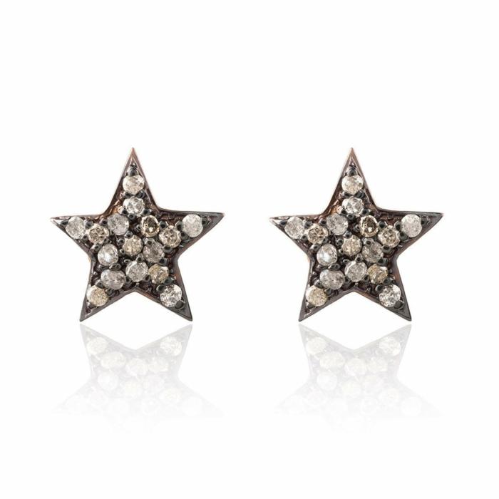 Diamond Star Stud Earring Rose Gold
