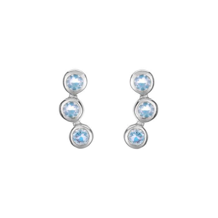 Sterling Silver Alexandra Earrings With Blue Topaz