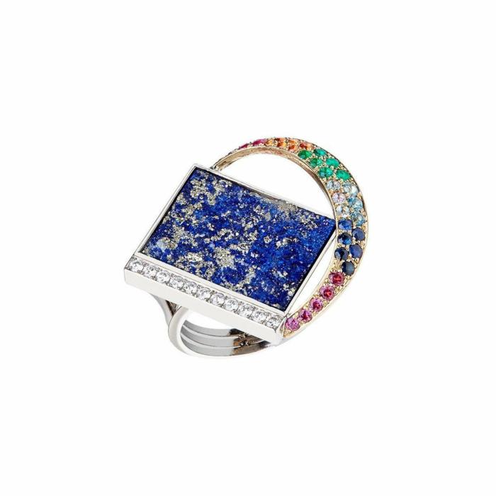 White Gold & Multi-Gemstone Arco Iris Sobre El Mar Ring | Jaime Moreno