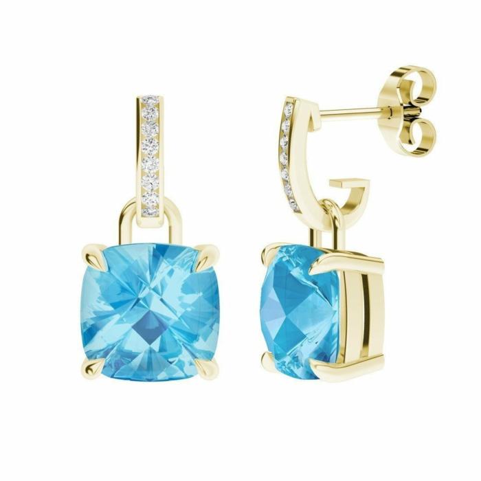 9kt Yellow Gold Blue Topaz Diamond Drop Earrings