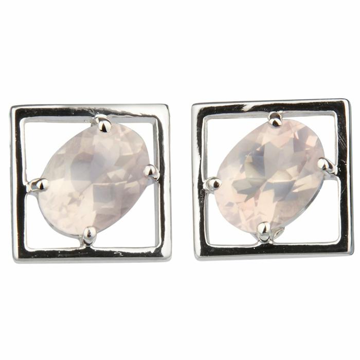 Sterling Silver Rose Quartz Charming Small Earrings