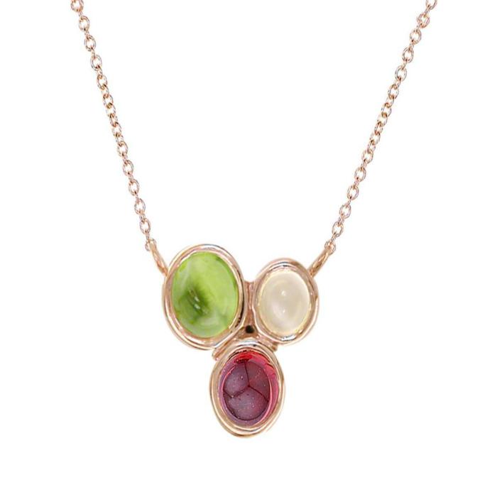 Rose Gold Multi-Gem Necklace