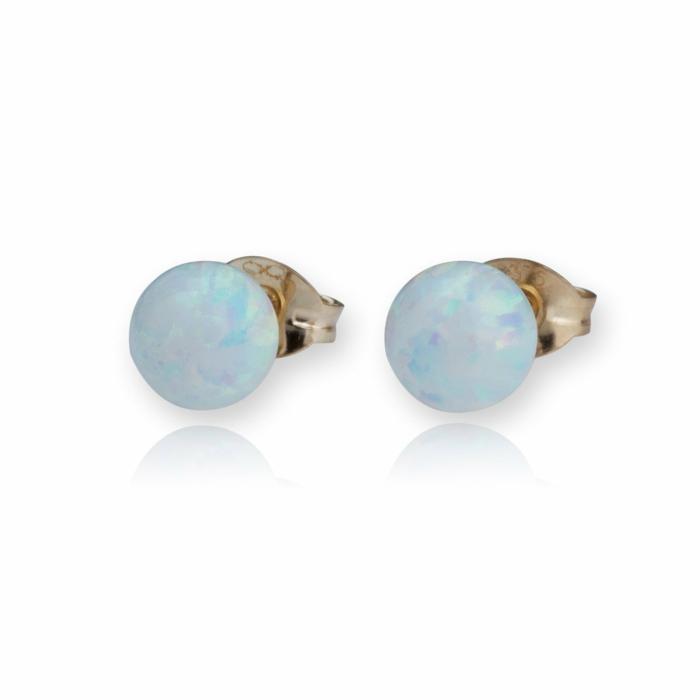 9kt Gold & White Opal Stud Earrings