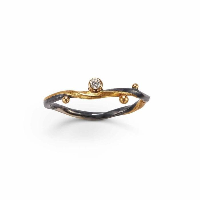 Gold & Champagne Diamond Seafire Ring   Bergsoe