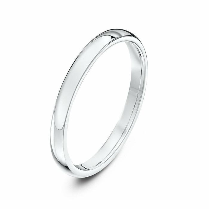 9kt White Gold Heavy Court-Shape Wedding Ring