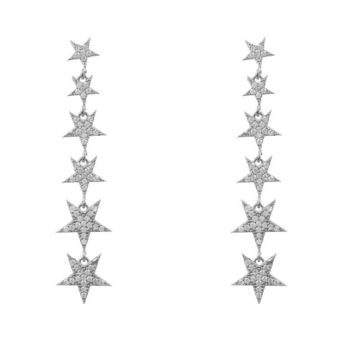 Sterling Silver Graduated Star Drop Earrings