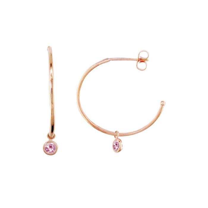 Modern Rose Gold Pink Tourmaline Dew Drop Hoops