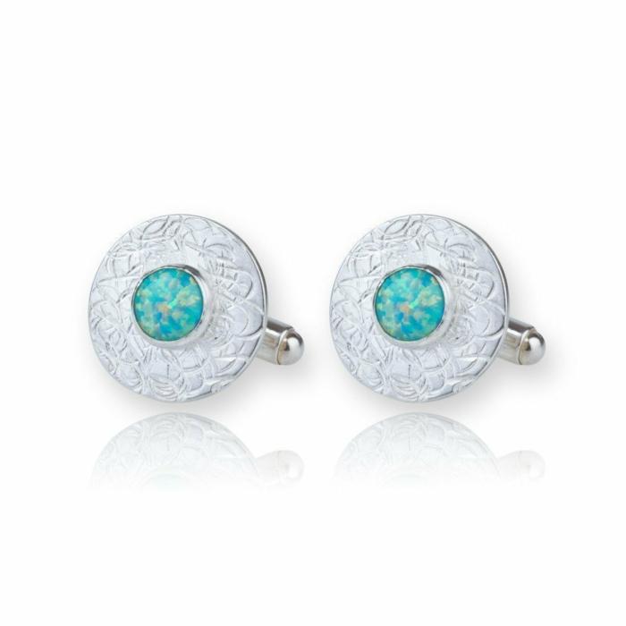 Sterling Silver & Green Opal Cufflinks
