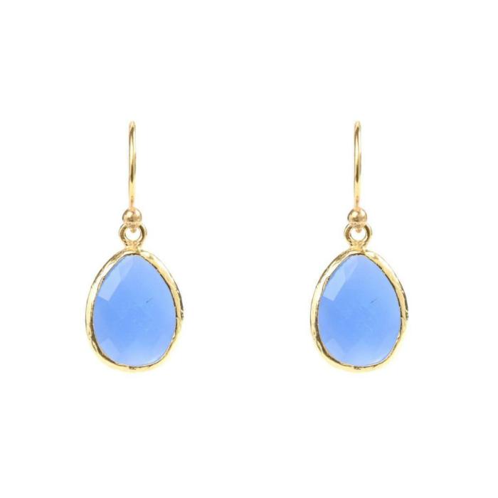 Gold Petite Drop Earring Dark Blue Chalcedony