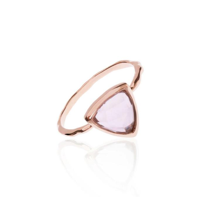 18kt Rose Gold Vermeil Trillion Ring With Rose Quartz