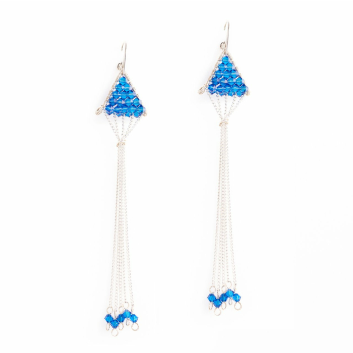 Sterling Silver Triangulum Capri Blue Crystal Earrings