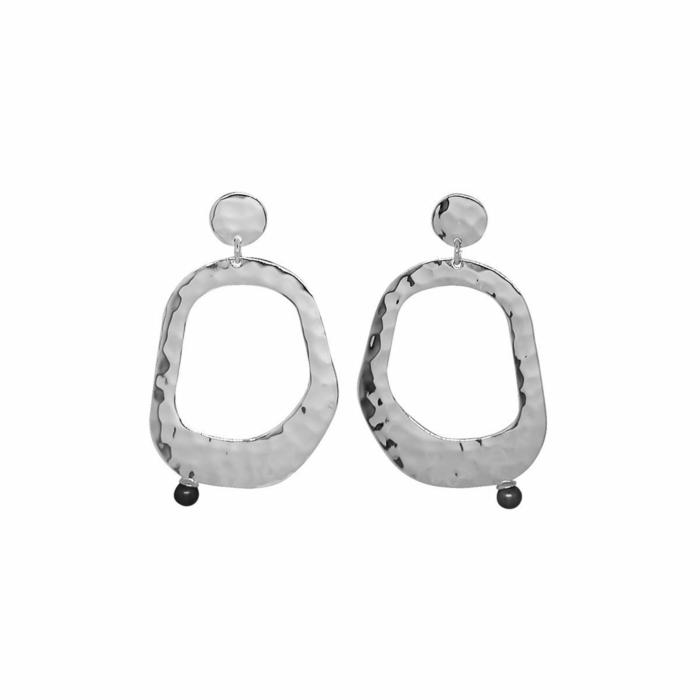 Sterling Silver & Black Pearl Riveria Hanging Earrings