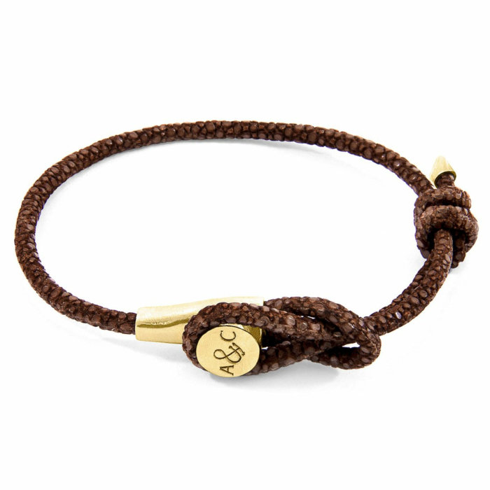 Mocha Brown Dundee 9ct Yellow Gold and Stingray Leather Bracelet