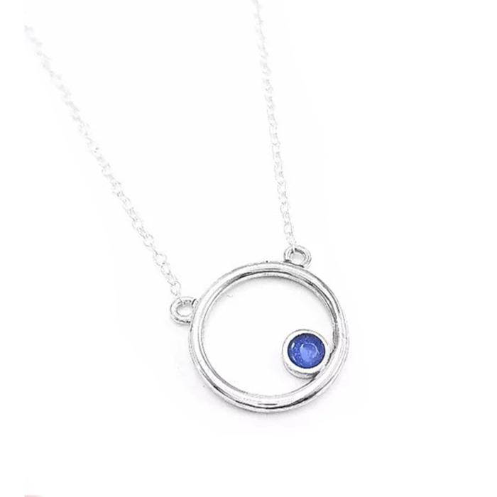 Sterling Silver & Transparent Sapphire Blue  Enamel Dot Encircled Pendant Necklace