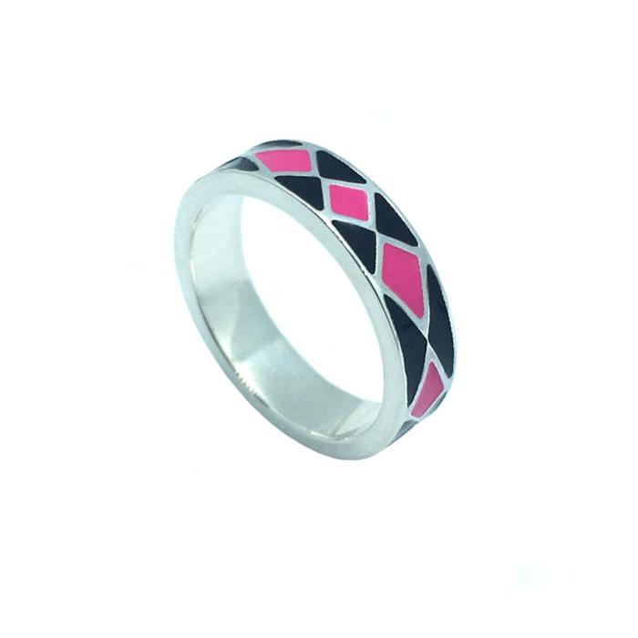 Bili Silver Pink Enamel Band Ring
