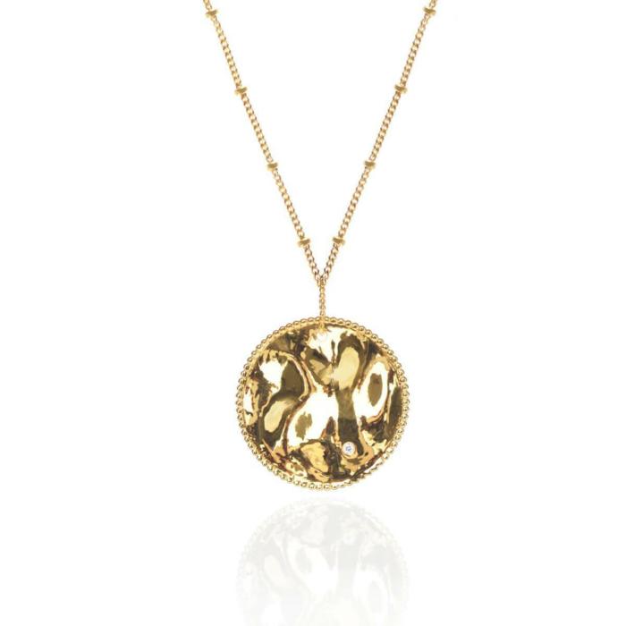 18kt Yellow Gold Vermeil Vintage Medallion Pendant With Satellite Chain
