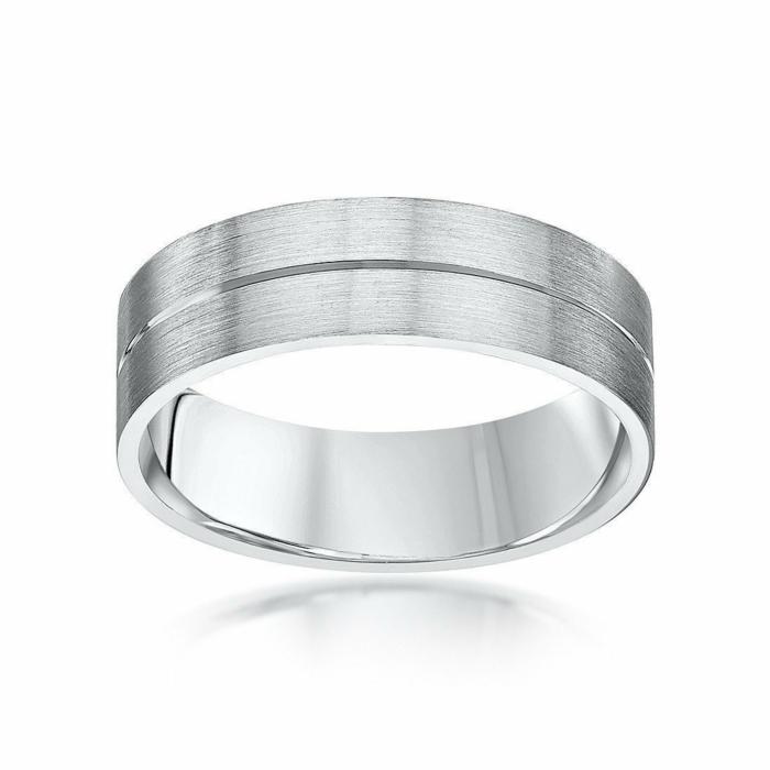 Palladium 950 Matt Flat Court-Shape Polished Groove Wedding Ring