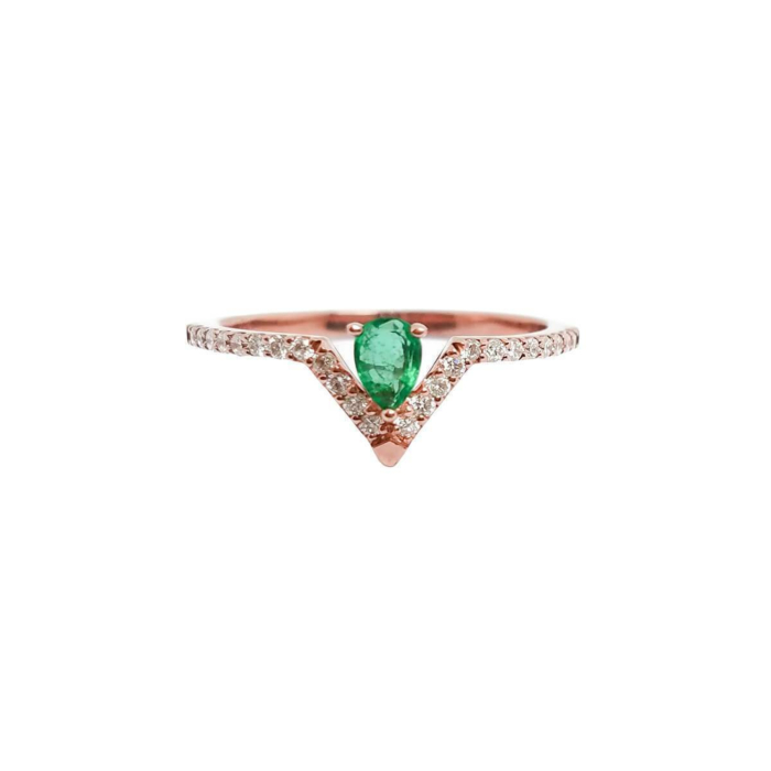 Emerald Pear & Diamond Ring