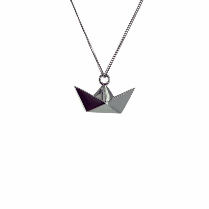 Black Silver Mini Boat Origami Necklace