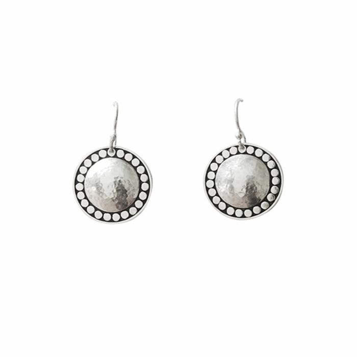 Sterling Silver Marrakech Hanging Disc Earrings