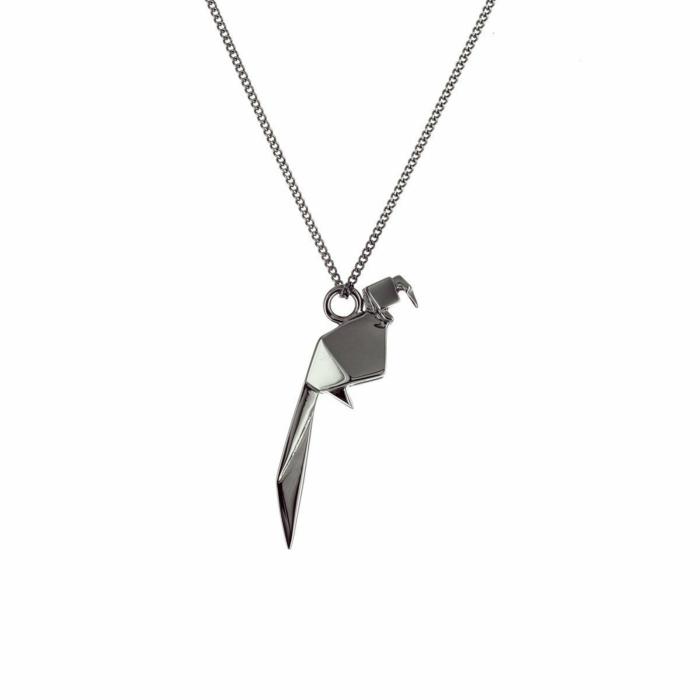 Black Silver Mini Parrot Origami Necklace