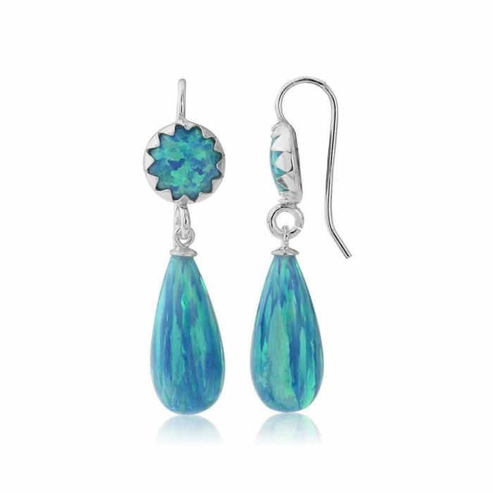Sterling Silver & Aqua Opal Drop Earrings
