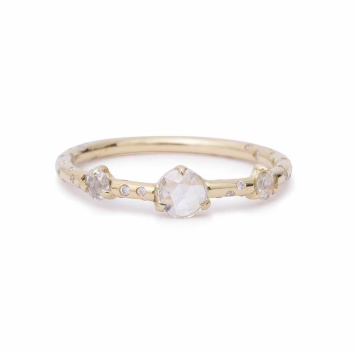 Dew Drop Rosecut Diamond Triplet Ring