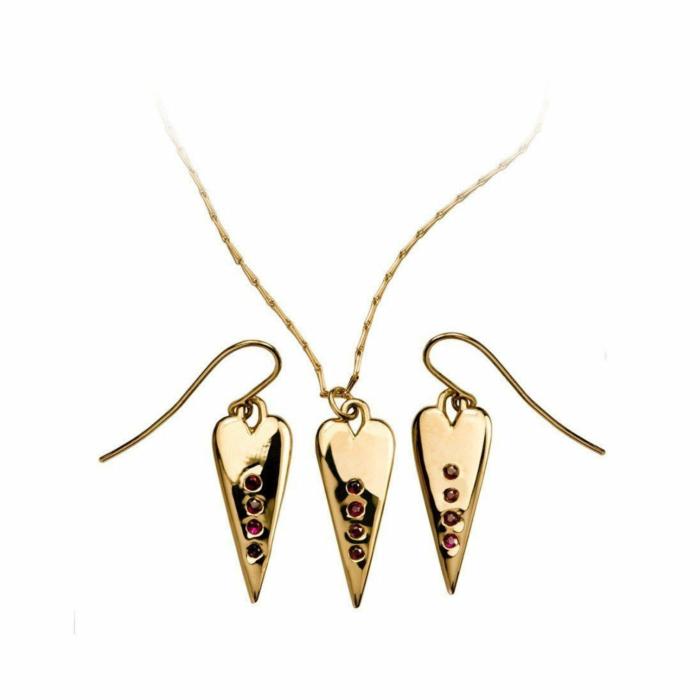 18kt Yellow Gold Ruby Heart Set Earrings & Necklace
