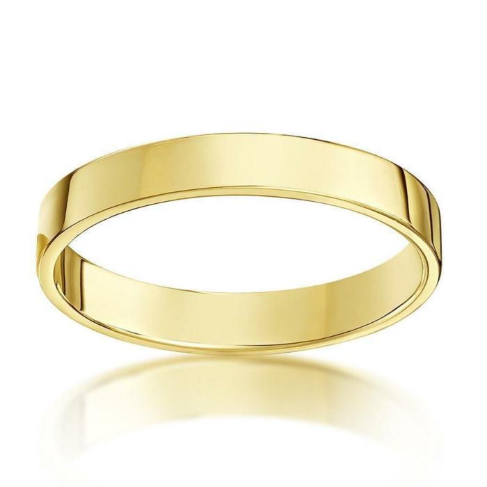18kt Yellow Gold Flat Court Shape Wedding Ring