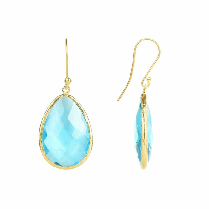 Gold Single Drop Earring Blue Topaz