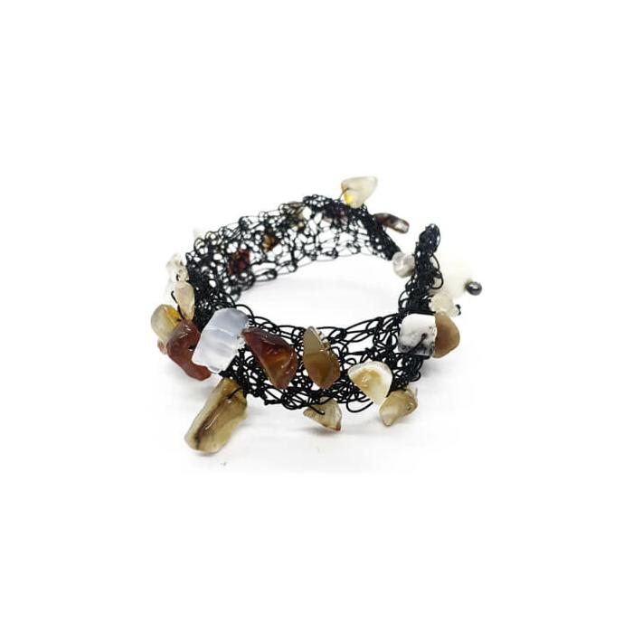 Wire & Natural Carnelian Bracelet