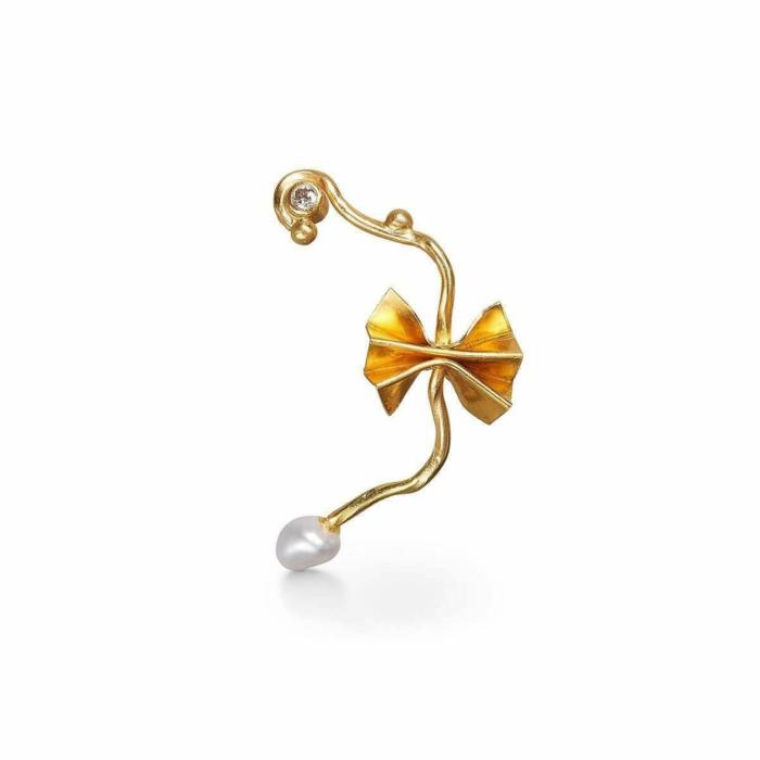 Gold, Pearl & Diamond Breeze Earring | Bergsoe