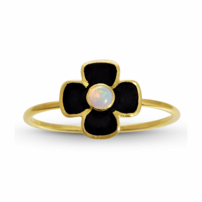 Anthea Opal and Enamel Flower Ring