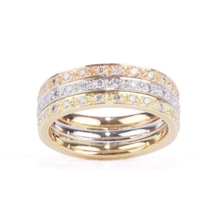 18kt Yellow Gold, 18kt Rose Gold & Platinum Diamond Ring