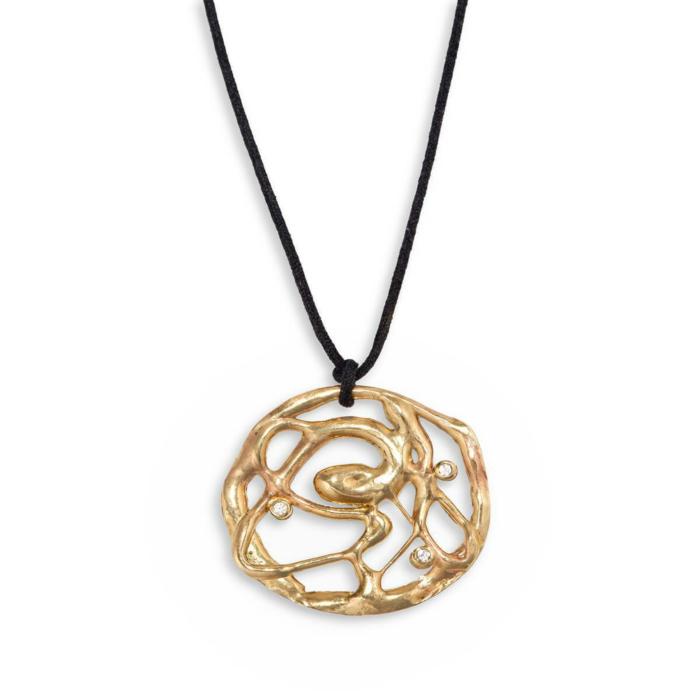 Yellow Gold Botswana Fluidity Medallion Necklace