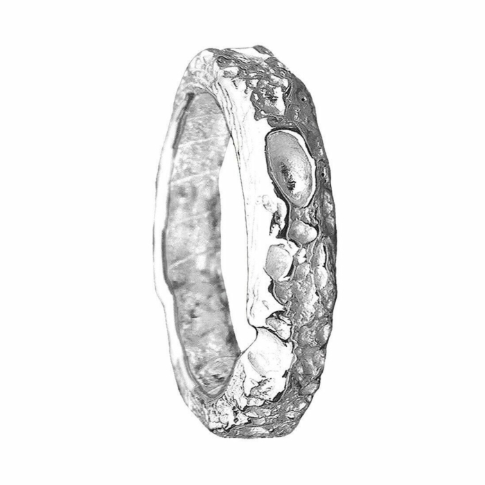 Cornish Beach Sand Textured 14kt White Gold Wedding Ring