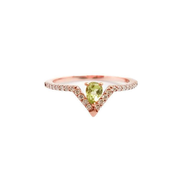 Pear Peridot & Diamond Ring